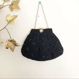 Vintage 1950s black beaded handbag clutch